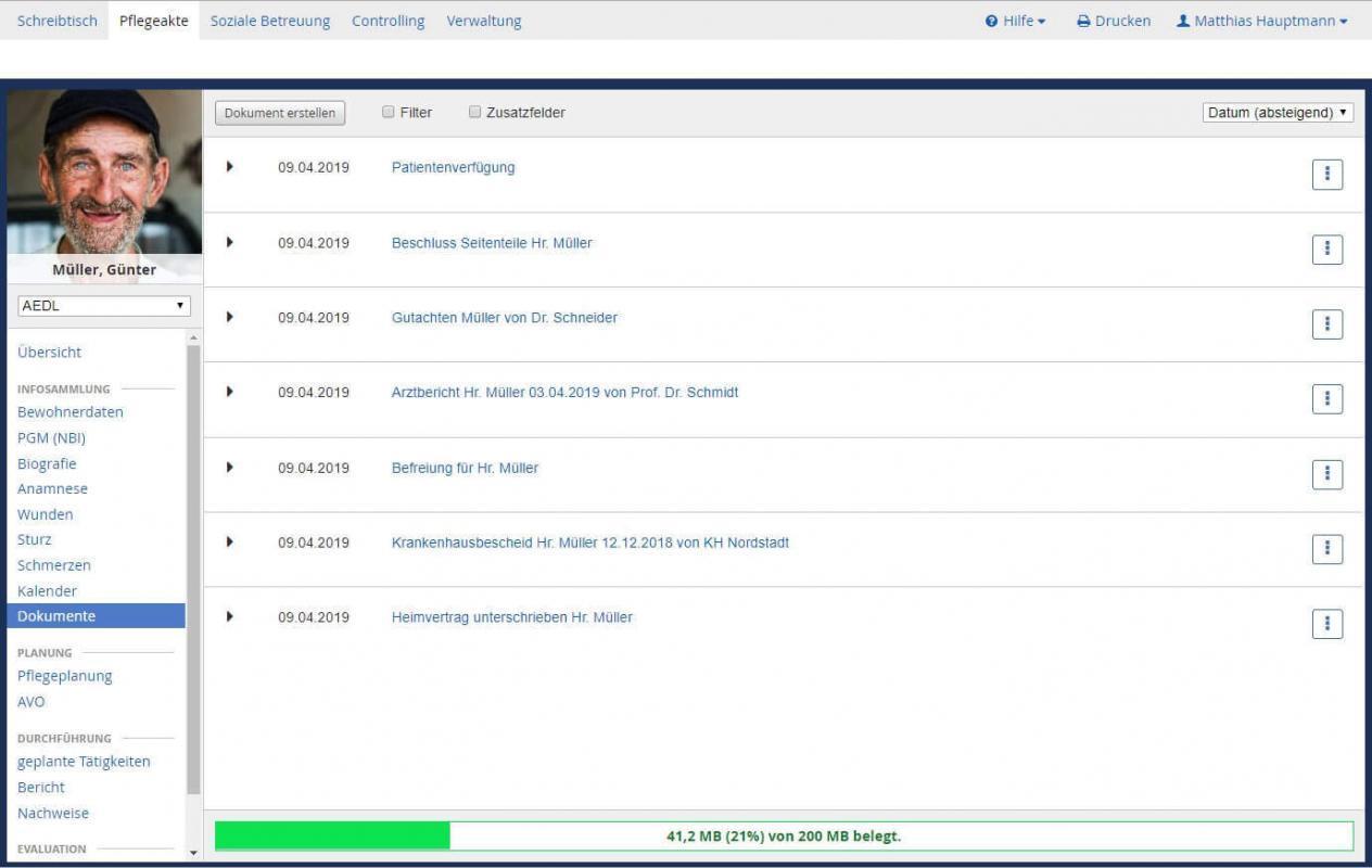 Abbildung: Mit der CareCloud® Box haben Sie direkt in der CareCloud® App den Überblick über Ihre Speicherkapazität.